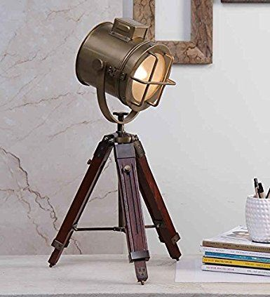 DESIGNER BRASS FINISH SEARCHLIGHT MARINE TABLE LAMP WITH TRIPOD STAND:  Amazon.co.uk