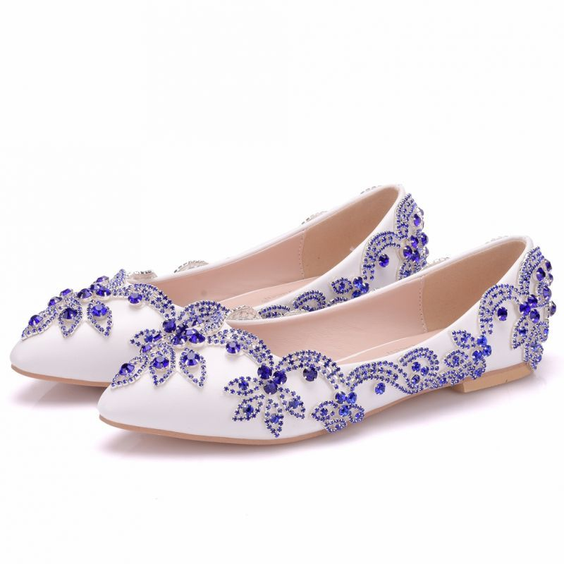 Chic beautiful white wedding shoes 2018 rhinestone