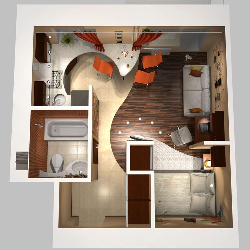 One Bedroom Flat Design 3d Floor Plan Floor Plans Pinterest The Two Flats And Curves