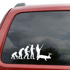 "Evolution Deer Hunting Car Window Decor Vinyl Decal Sticker- 6"" Wide White"