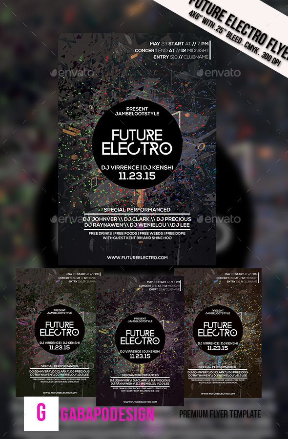 Future Electro Flyer Electro music, Font logo and Flyer template - electro flyer
