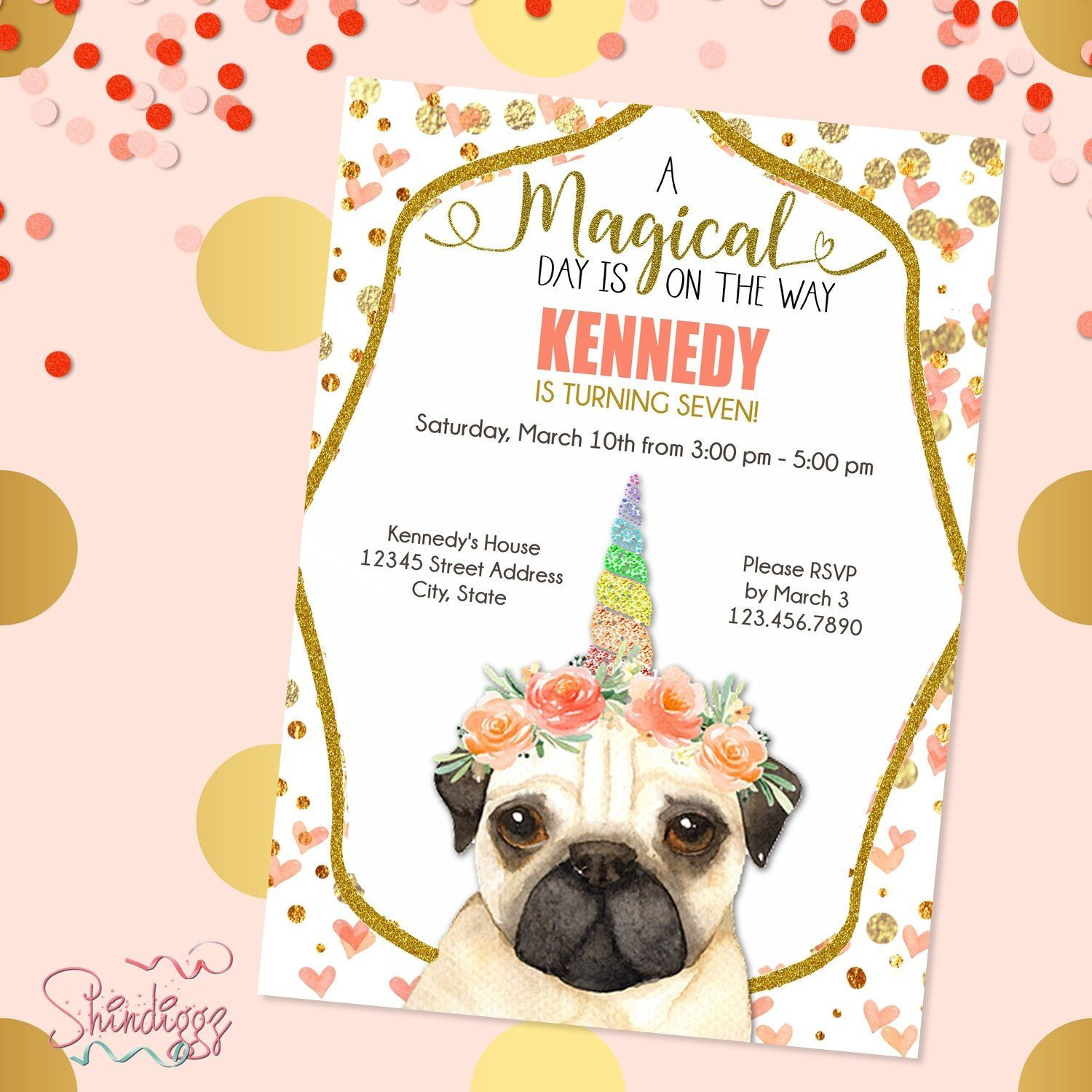 Pug Unicorn Party Invitation Unicorn Birthday Pugicorn Unicorn