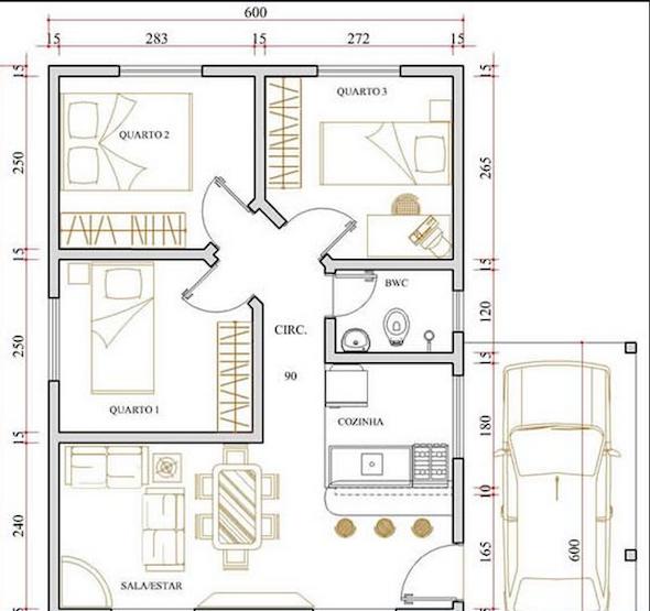 17 modelos de projetos de plantas de casas populares que lhe ajudar o na elabora o da planta. Black Bedroom Furniture Sets. Home Design Ideas