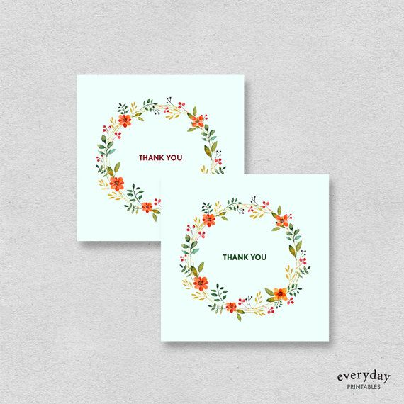 mini printable thank you cards mint floral these small thank you