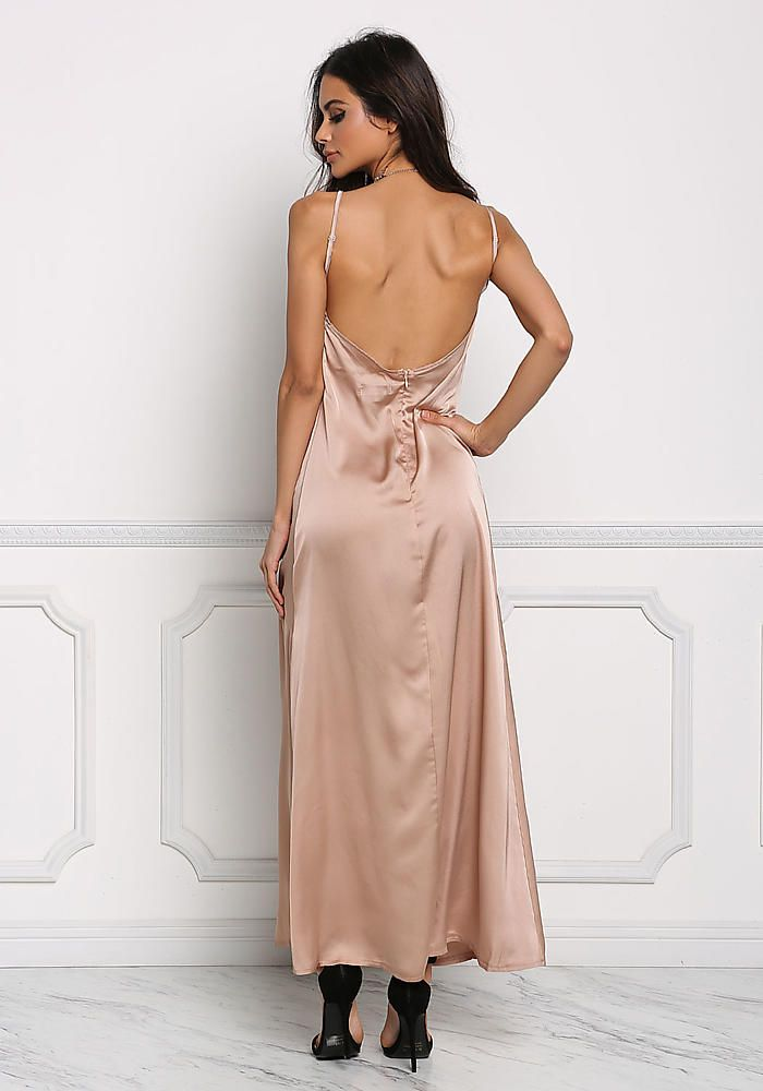 9ba501947d392 Champagne Satin Low Back Slip Maxi Dress - Festival - Trends