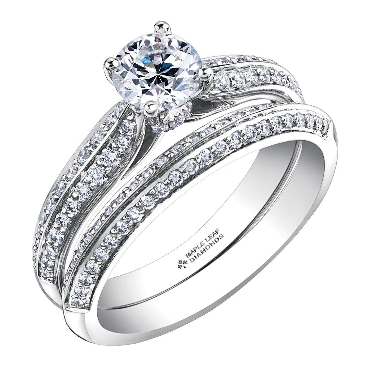 Hidden Halo 2 Layer Diamond Pave White Gold Engagement