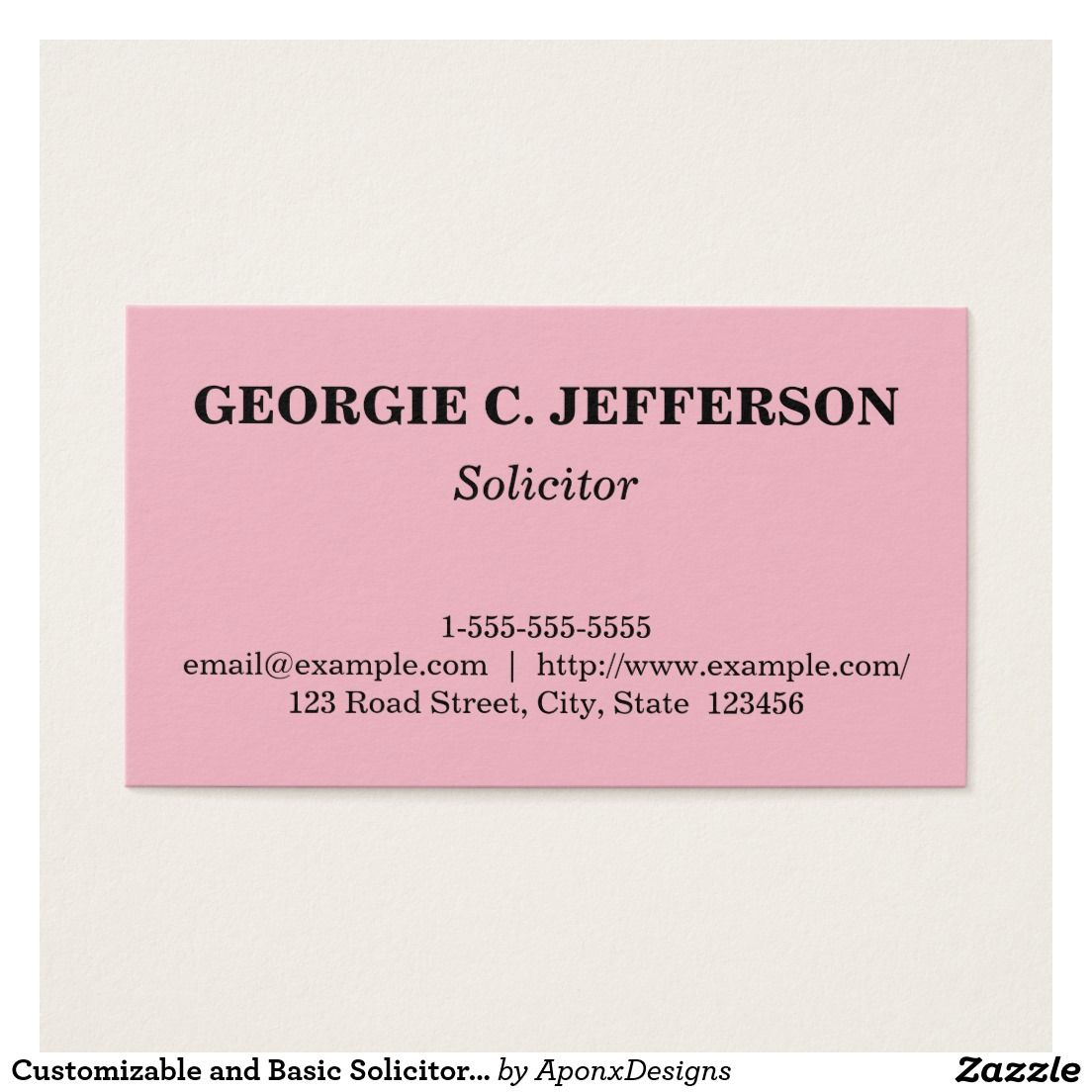Customizable and Basic Solicitor Business Card | Business cards ...