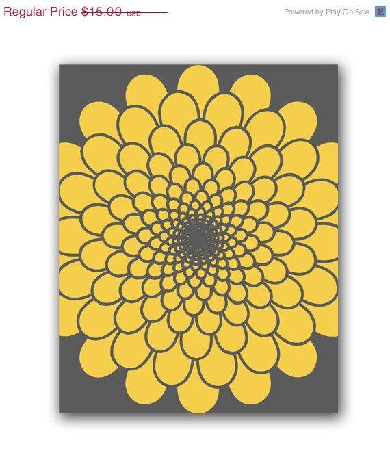 ON SALE Mustard Yellow And Gray Flower Burst Art 8\