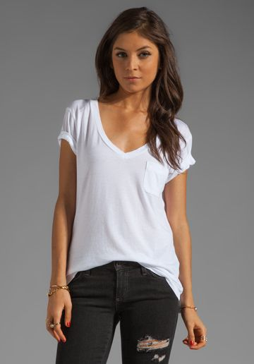 56b2df72a461 AG ADRIANO GOLDSCHMIED Pocket V Neck Tee in White at Revolve .