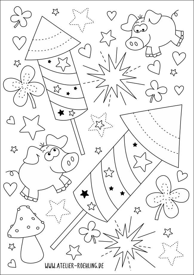 Ausmalbild Gluck Fur Dich Atelier Ilka Rohling Atelier Fur Kinderbuchillustration Ausmalbild Ausmalen Basteln Silvester