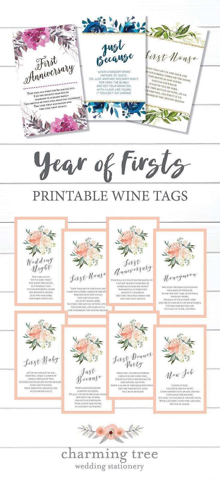 Year of Firsts Printable Wine Tags, Bridal Shower Gifts, Wine Bottle ...