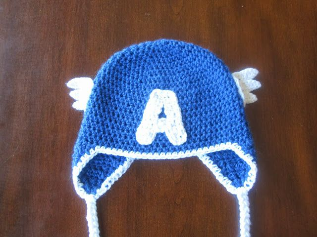 So here is the first installment of five..Ladies and Gentlemen, I give you Captain America!The hat itself is just a simple half double crochet beanie, and then I found this pattern for the letter A...
