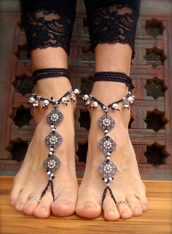 Black & White Barefoot Bohemian Wedding Sandals
