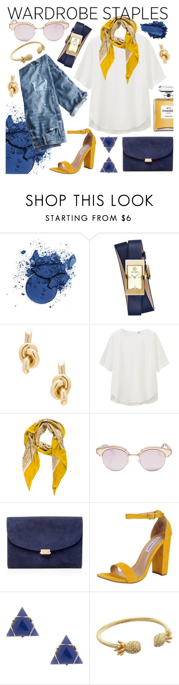 """Wardrobe Staple: White T-Shirt"" by layersfordays ❤ liked on Polyvore featuring Chanel, Tory Burch, Balenciaga, J.Crew, Uniqlo, Loro Piana, Le Specs, Mansur Gavriel, Steve Madden and Lilly Pulitzer"