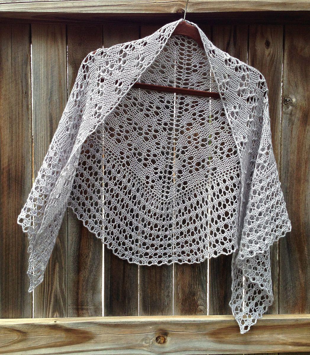 Knitting Pattern for Easy Damson One Skein Shawl - Easy DK yarn lace ...
