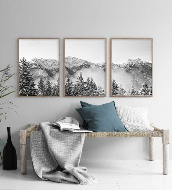 Modern mountain art set of 3 prints mountain poster art black white mountain monochrome printable wall