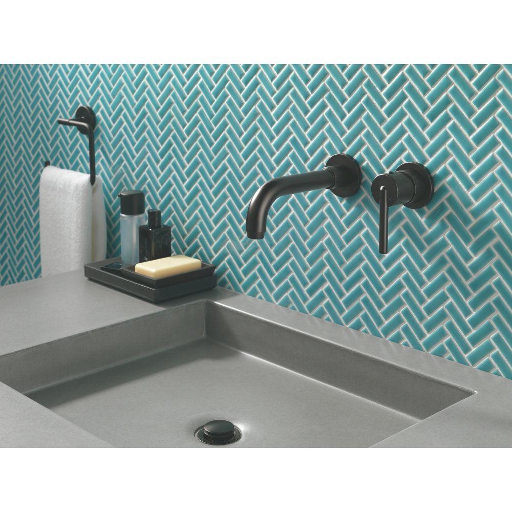Delta Faucet T3559LF-BLWL Trinsic Matte Black Wall Mount Bathroom ...