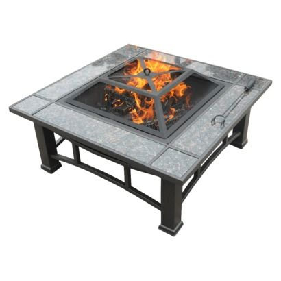Square Wood Burning Steel Dark Brown Fire Pit With Granite Surround And Cover 34 Fire Pit Cover Fire Pit Square Fire Pit
