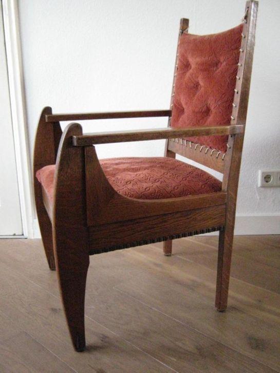 Art deco chair amsterdamse school stoel eiken met for Marktplaats meubels