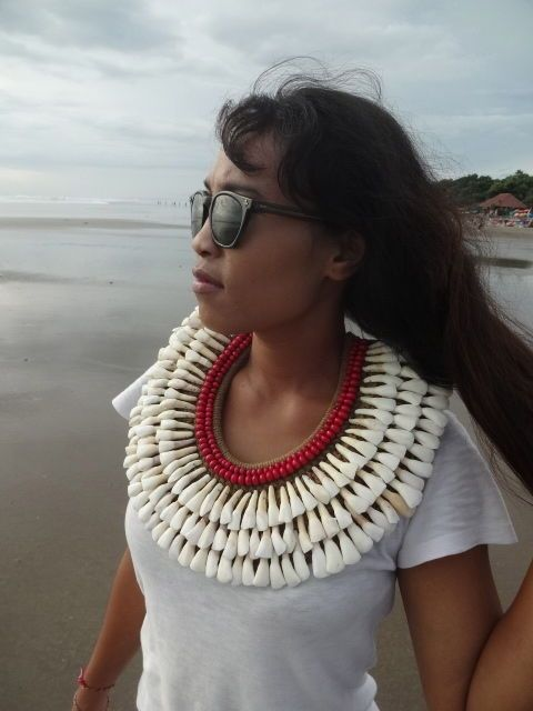 Fetish Buffalo Tooth Necklace with Beads Sheer Beauty Women Fashion Papua Tribal #Unbranded