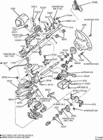 Exploded View For The 2002 Ford F 150 Non Tilt Steering Column Services Exploded View Ford F150 F150