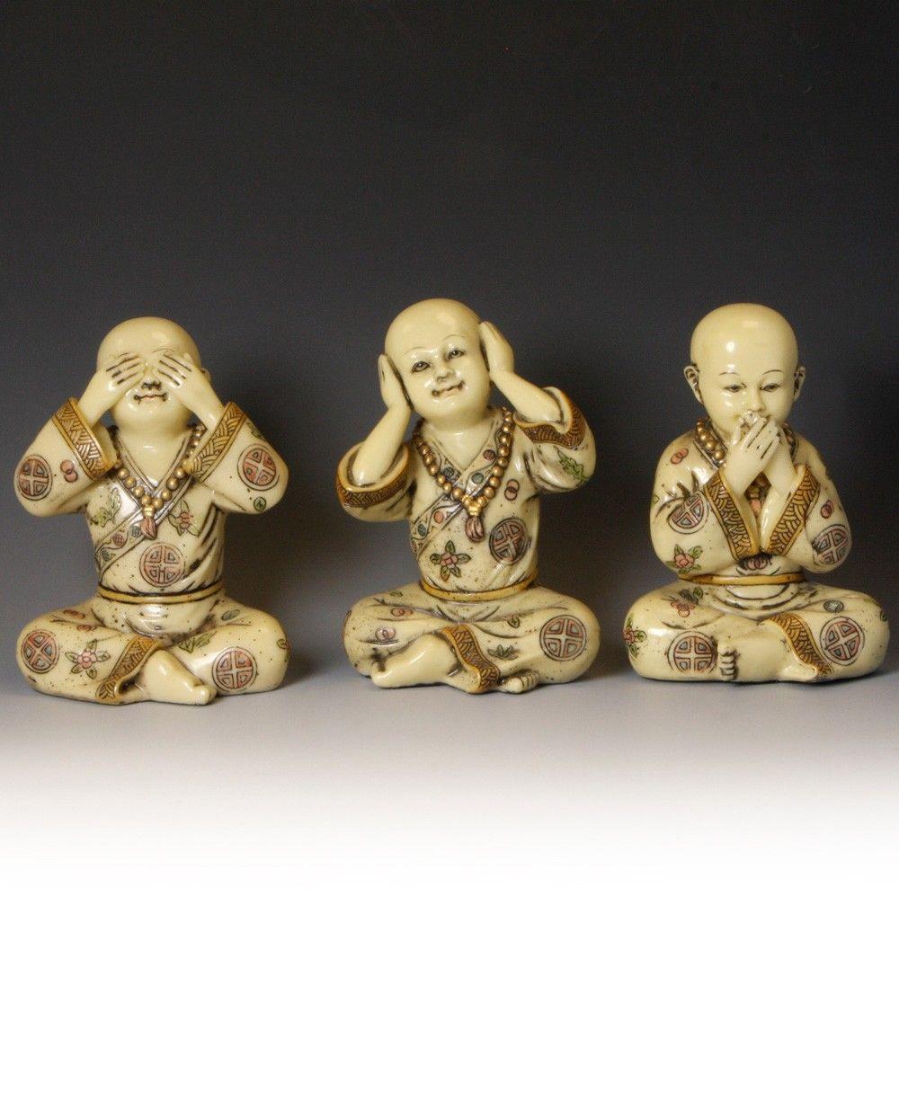 Set of 3 Baby Buddhist Monk Statues: See No Evil, Hear No Evil, Say No Evil