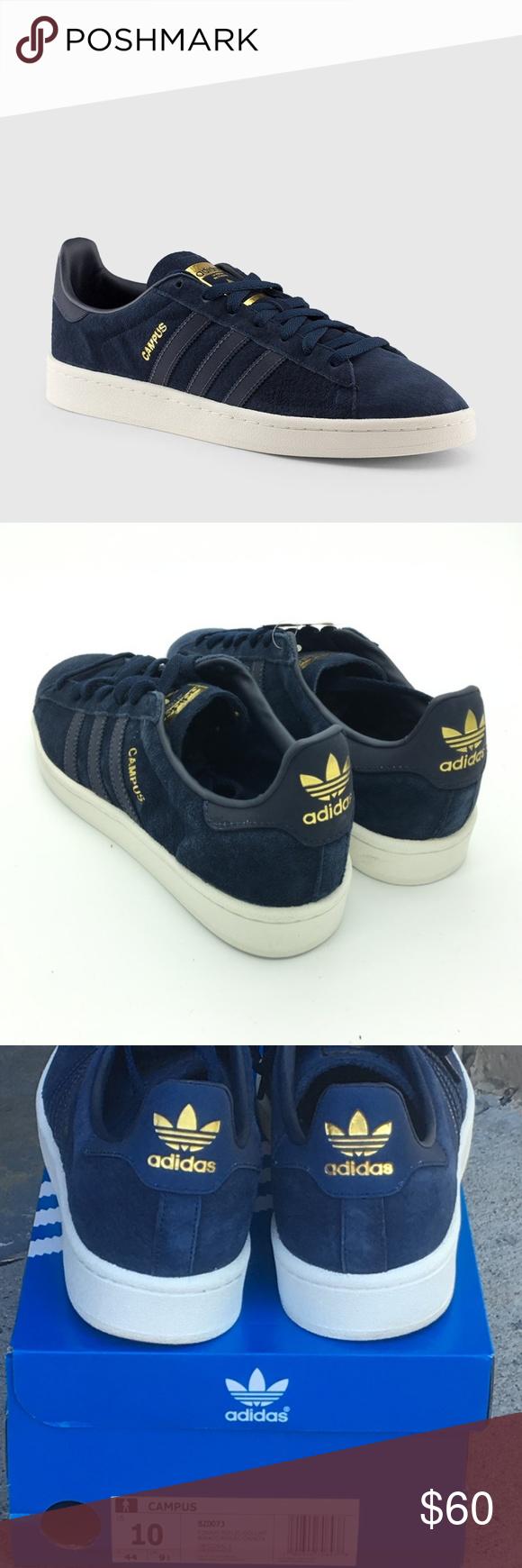 Sonrisa cero maratón  Adidas Navy Gold Campus Shoes BZ0073 Size US 10 | Shoes sneakers adidas,  Navy gold, Blue adidas