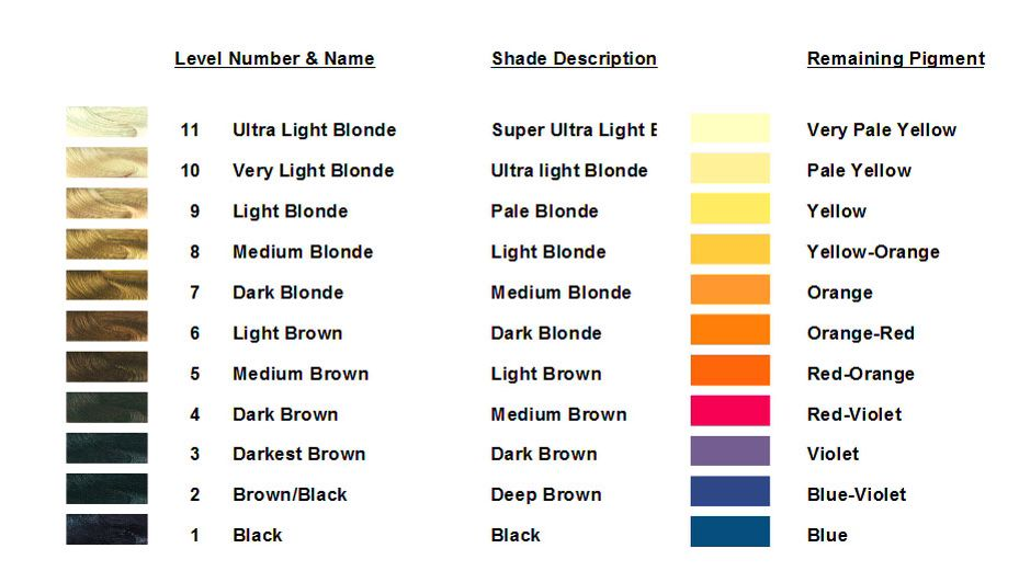 Underlying Pigments Level Chart Hair Color Chart Hair Color Hair Color Formulas