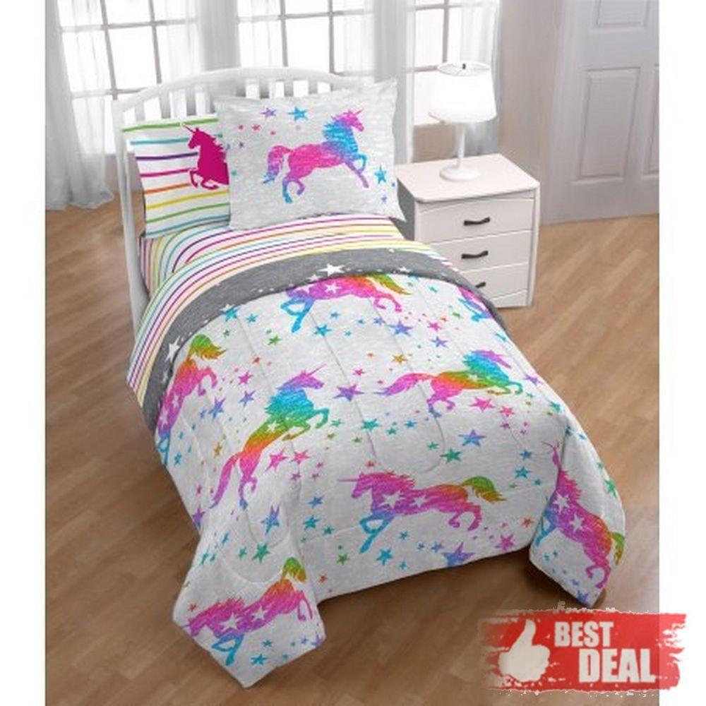 Kids Comforter Rainbow Unicorn Girls Set Twin Size Bed In A Bag