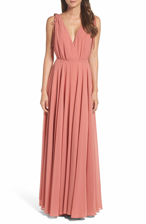 V-Neck Chiffon Gown