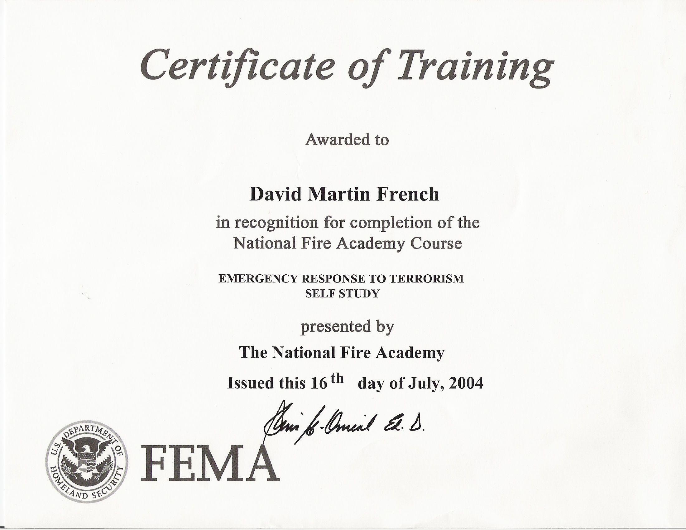 emergency response to terrorism fema certificates