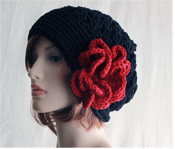 29e68fcc9 Slouchy Hat Womens Hand Crochet Hat Large Fluffy Flower Winter Fall ...