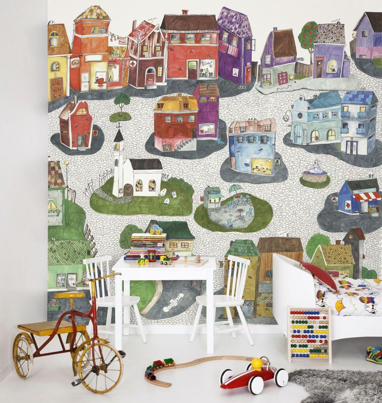 Mr Perswall P120501 6 Vliestapete Kinder Hauser Gezeichnet Bunt Wallpaper