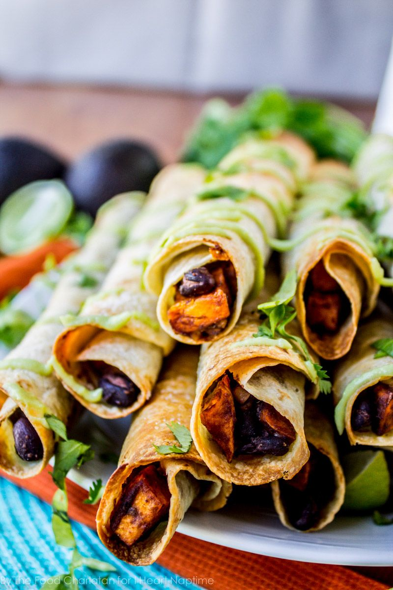 Black Bean and Sweet Potato Taquitos on iheartnaptime.com