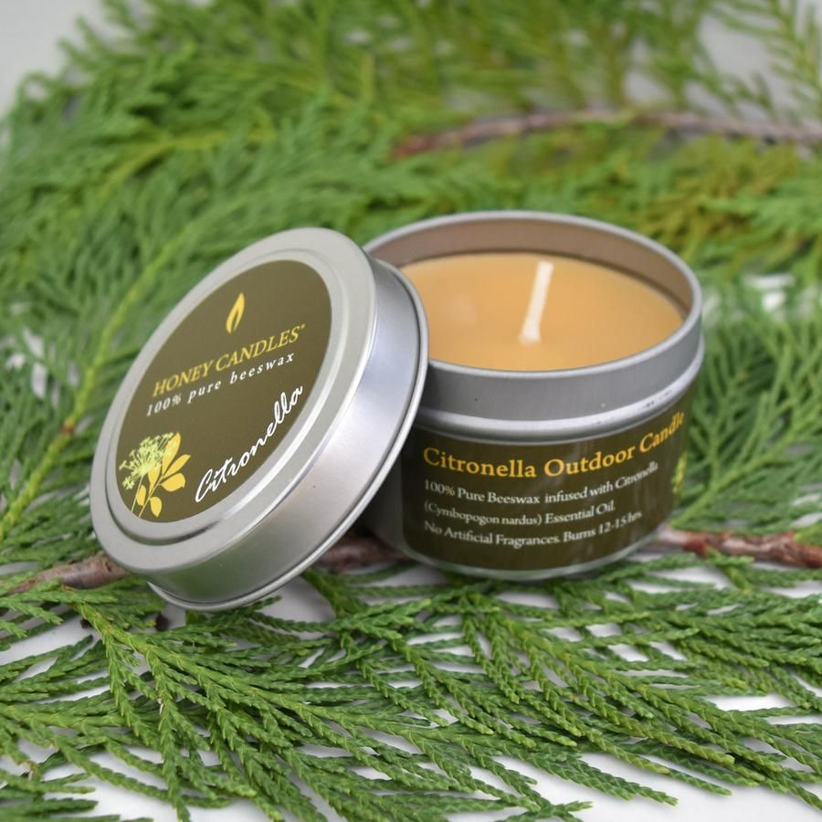 Citronella essential oil tin beeswax candle honey