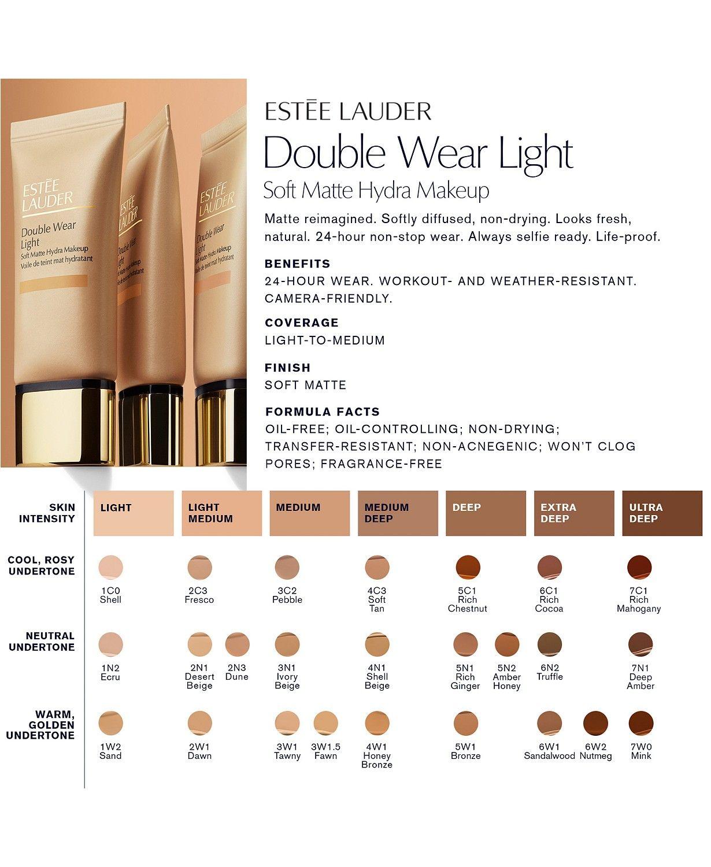 Estée Lauder Double Wear Light Soft Matte Hydra Foundation, 9 oz ...