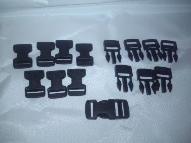 "Plastic Buckles Complete 8 sets Black Side Release Plastic Buckles 20MM 3/4"""