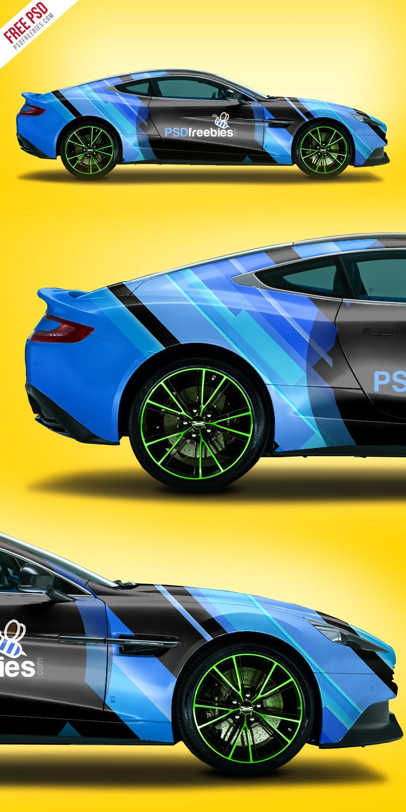 Aston Martin Car Branding Mockup Free PSD Car, Aston