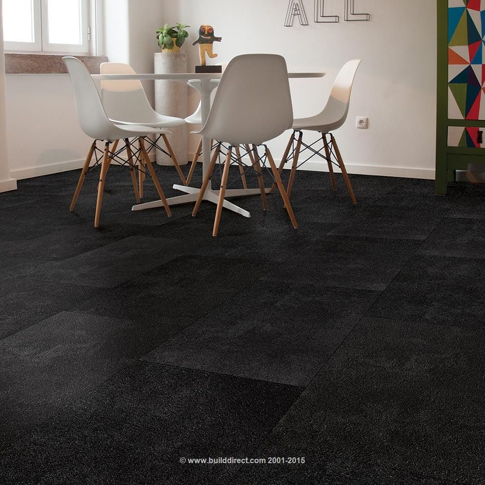 Harley color carpet tiles - Vinyl Tile 10 8mm Hdf Click Lock Stone Collection Licorice With Cork Underlay
