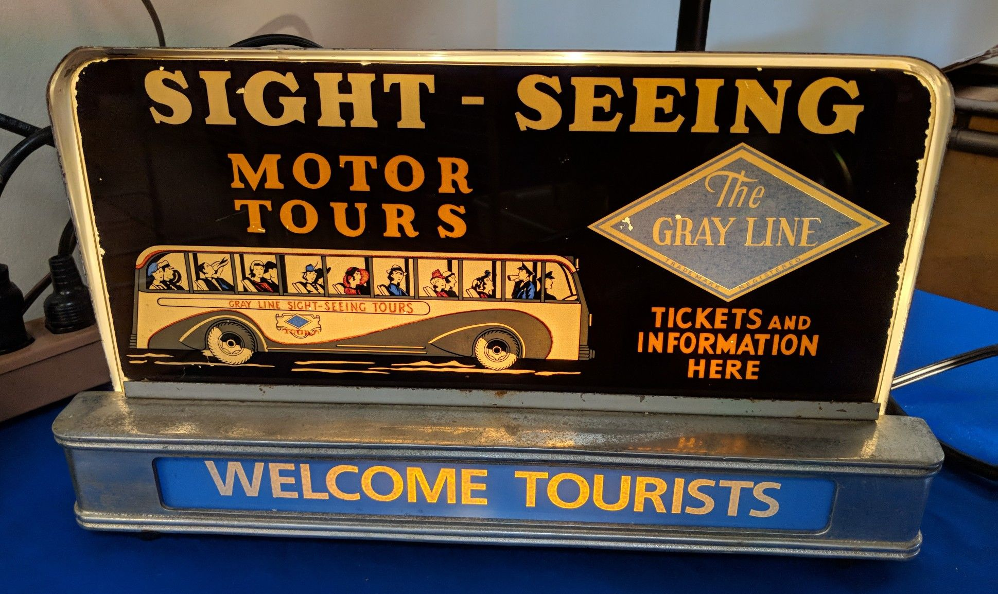 Countertop Signs Rare Original Gray Line Bus Tourist Motor Tours Countertop