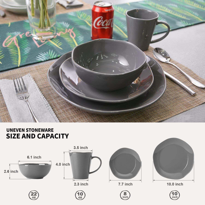 Amazon Com Le Tauci 4 Piece Glaze Dish Dinnerware Set Place Setting Service One Person Gery Cereal Bowls Plastic Ware Dinnerware Set Dinnerware