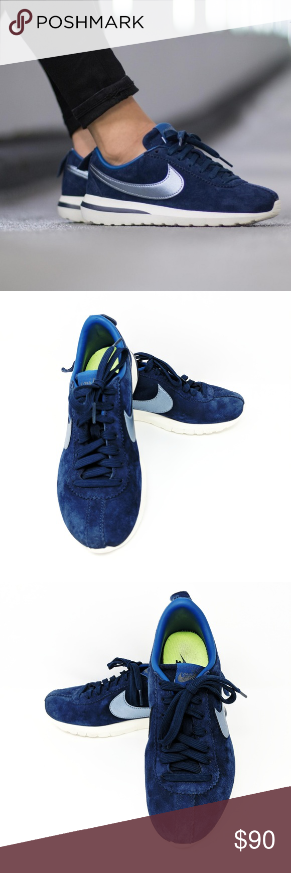 8 Nike Blue Suede Cortez Roshe Shoes WOMENS NIKE ROSHE CORTEZ NM PREMIUM  SUEDE NAVY RUNNING TRAINER SHOE Style - 819862-400 Color - Midnight Navy  Size - 8 ... 8297d8e46