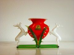 Red vase with two stags. Practical and special Christmas gift.