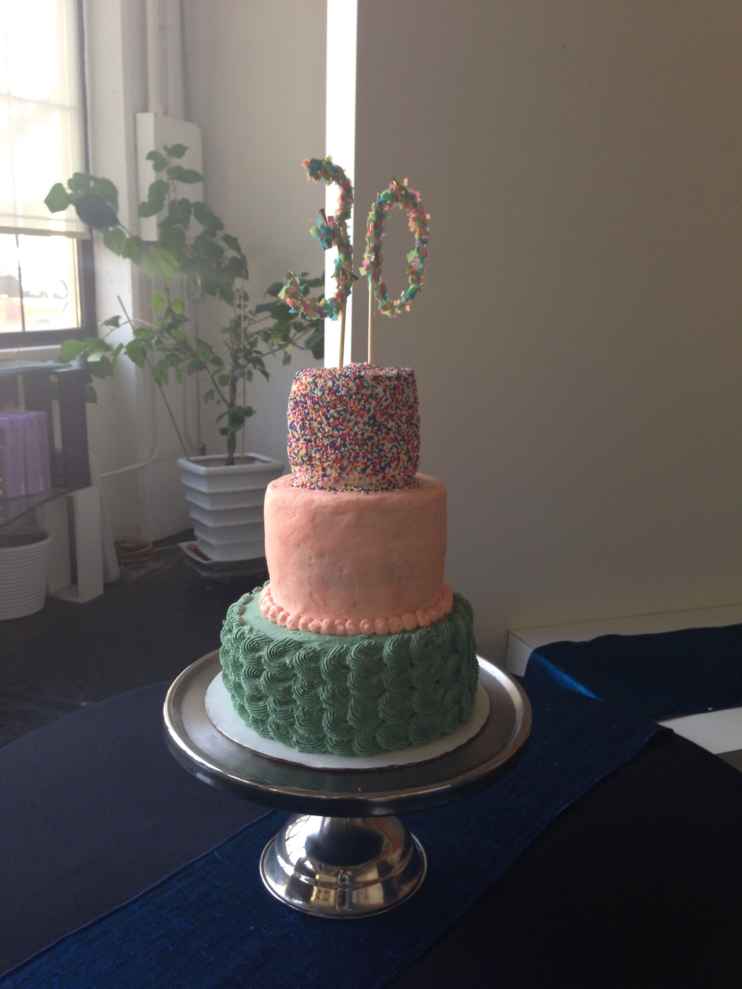 3 Tier Sprinkle Cake Peach And Mint 30th Birthday