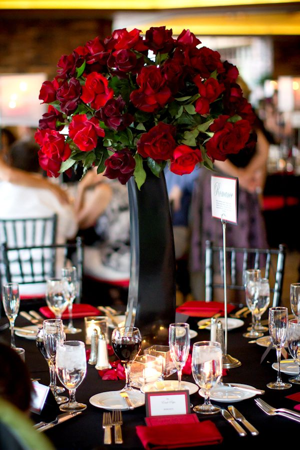 Tall red rose wedding centerpieces lovely roses
