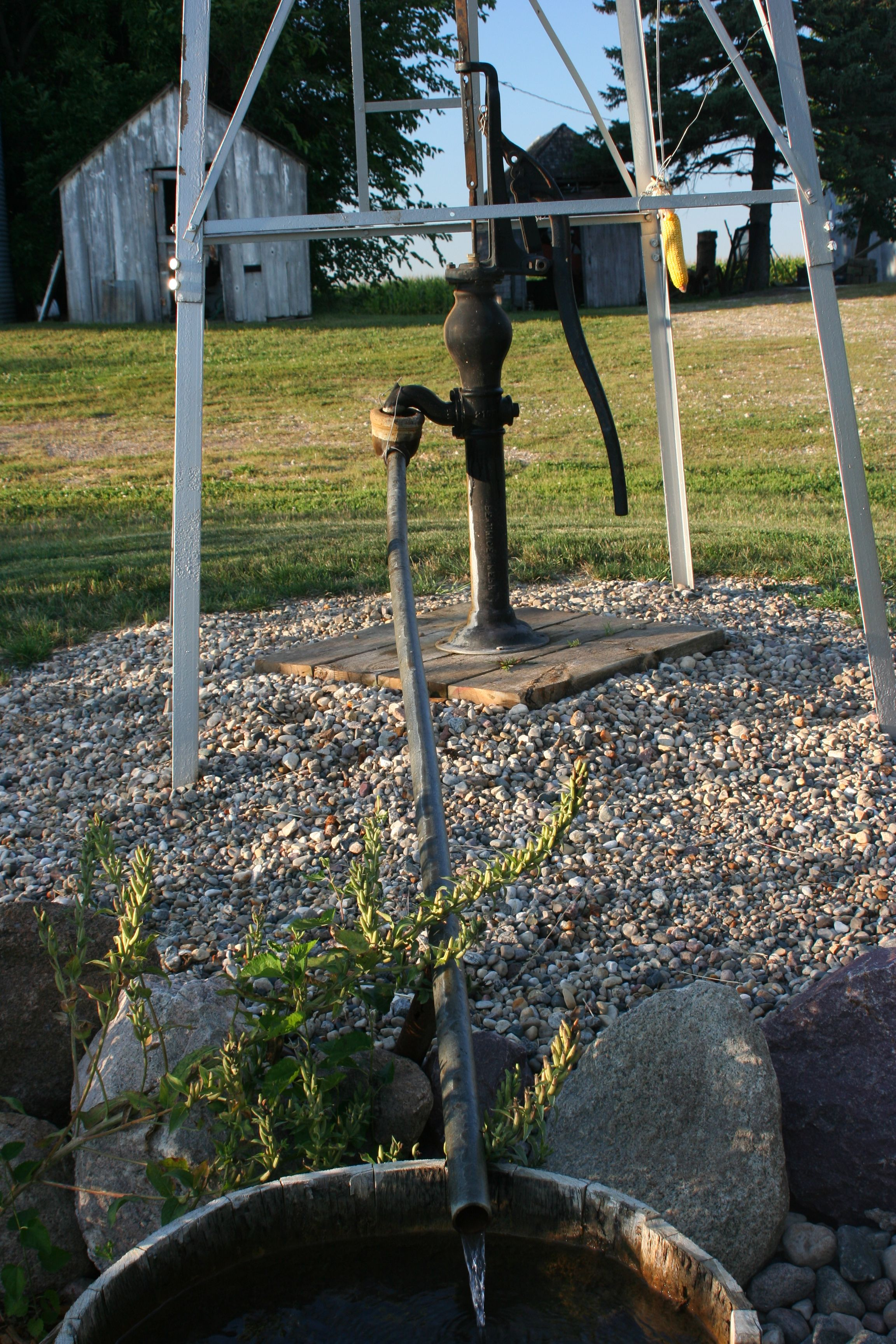 Retrofitted Hand Pump Attached To A Windmill Water Pumps Old