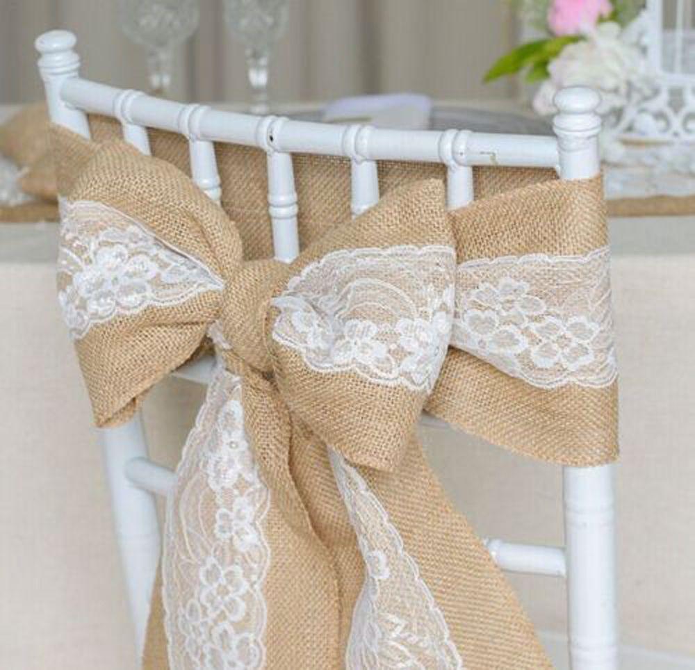 Burlap wedding dress sash   AUD  Hessian Lace Chair Cover Sashes Jute Burlap Rustic