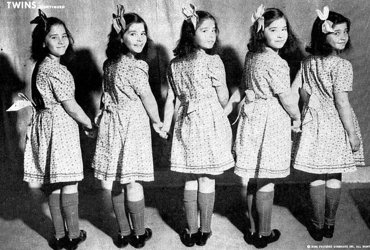 Dionne Quintuplets. Left-Right: Emilie, Annette, Cecile, Yvonne, Marie