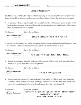Area and Perimeter Word Problems   Student, Numbers and Words