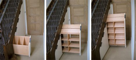 Martino Gamper produces consistently elegant and distinctive custom furniture, and this under-staircase storage drawer system is a testament to his ability. In this beautiful English country home, Gamper installed an ingenious hidden storage staircase to give the occupants more room for storage and to use up some previously forgotten wasted space.